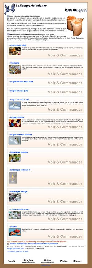 Site web ecommerce La Dragée de Valence en 2000