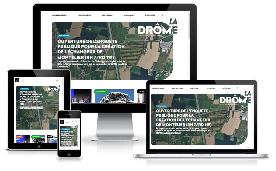Etudes de Cas : Nouveau site reponsive CMS Wordpress de ladrome.fr édité par le conseil départemental de la Drôme situé à Valence