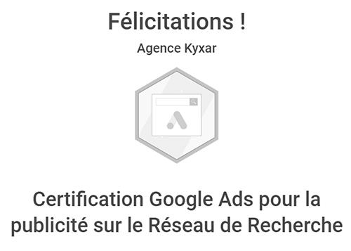 Certification Google Ads (Adwords) pour la publicité sur le Réseau de Recherche sur Valence, Romans et Rhône-Alpes